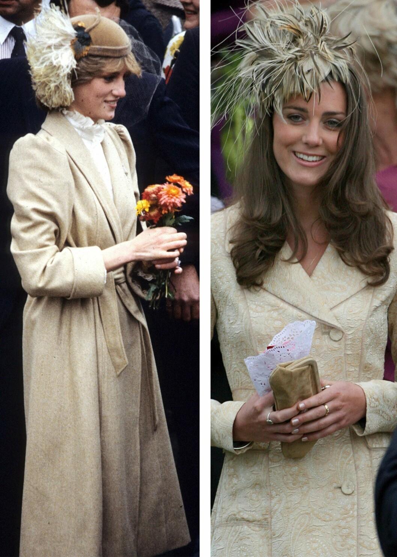 HODEPYNT: Det er tydelig at Kate liker de samme fargene som Diana - og hodepynt for den saks skyld! Foto: Scanpix