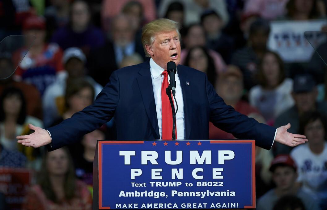 USAs NESTE PRESIDENT?: Tirsdag 8. november avgjør det amerikanske folket om det er forretningsmannen Donald Trump som blir USAs 45. president. Foto: NTB Scanpix