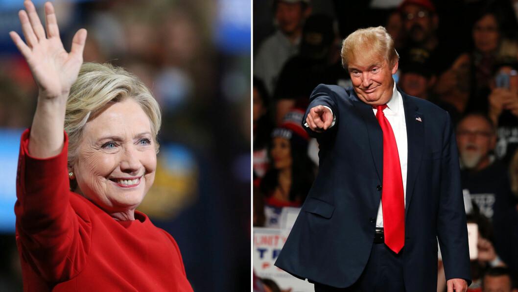 USA-VALGET: Valgdagen faller i USA alltid på tirsdagen etter den første mandagen i november. I år blir det altså den 8. november. Men hva står egentlig presidentkandidatene for?  Foto: Alca/AFP/Scanpix