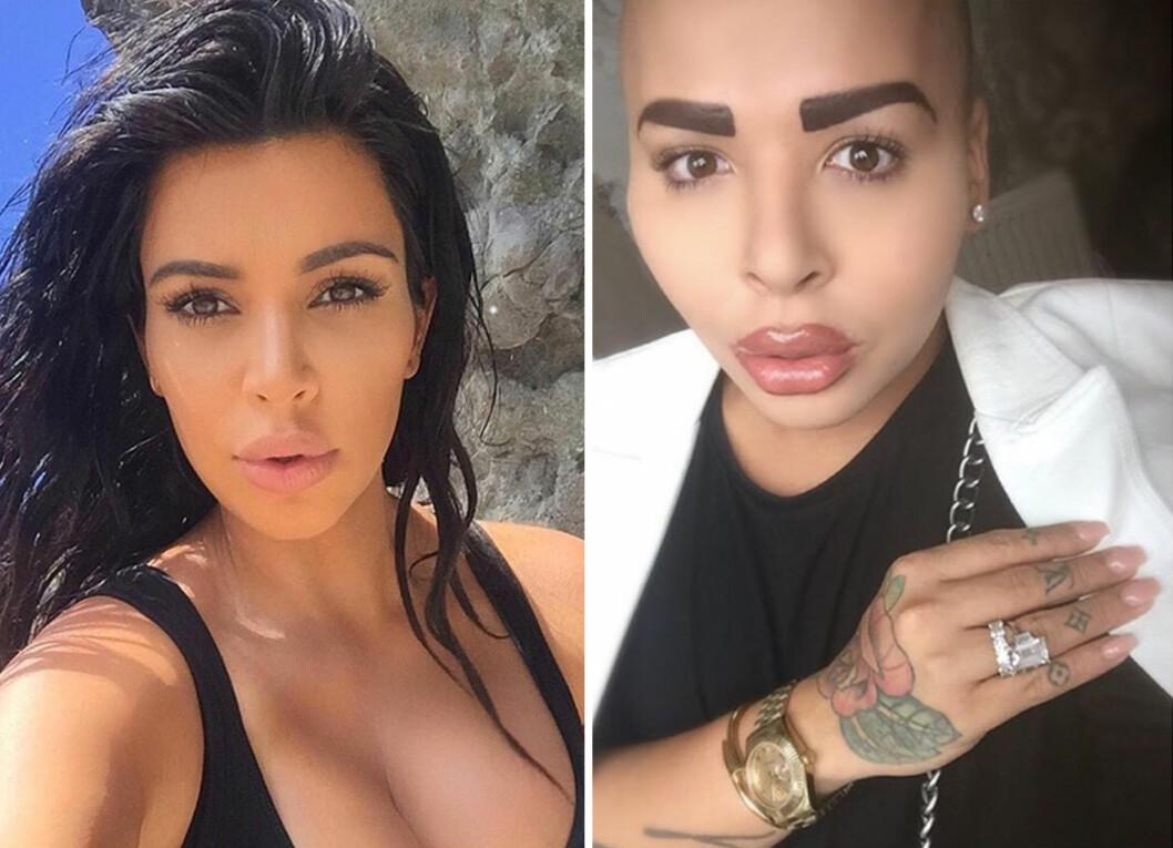 <strong>SER DU LIKHETEN?:</strong> 25-åringens store idol er reality-baben Kim Kardashian. Ser du likheten?  Foto: NTB scanpix/Instagram