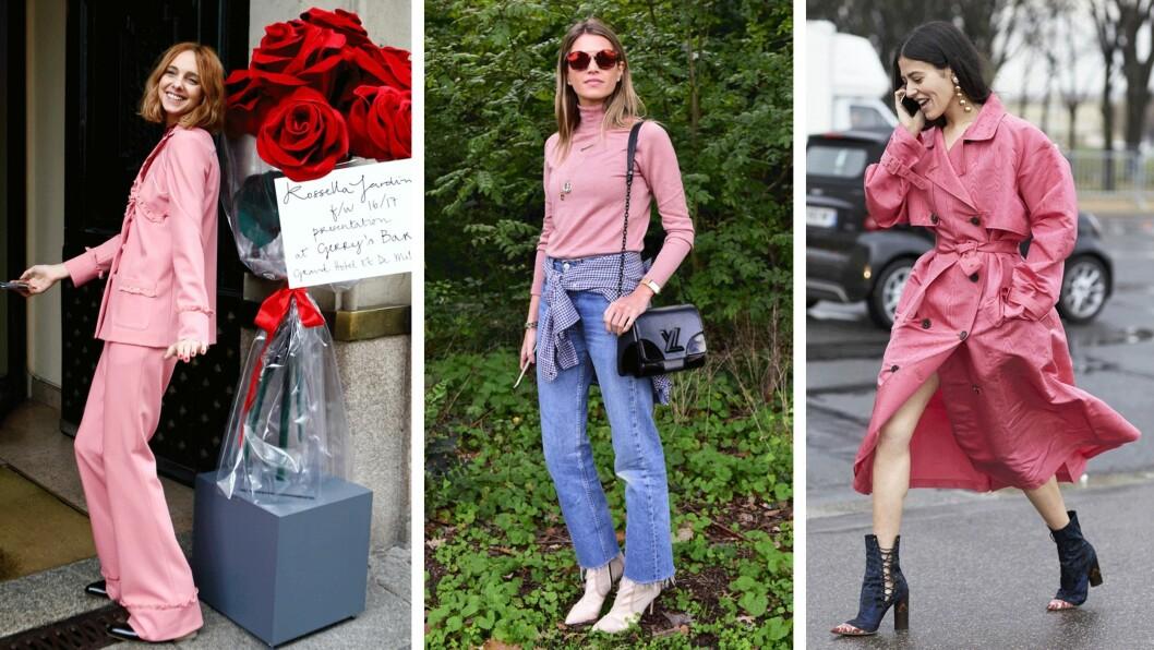 ROSA: Streetstyle-jentene har selvfølgelig tatt i bruk høstens trendfarge. Foto: Scanpix