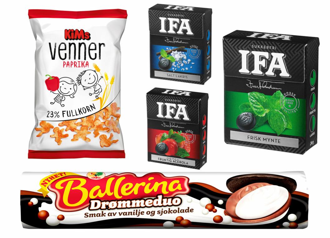 <strong>SNACKSNYHETER:</strong> Orkla Confectionery & Snacks Norge byr på en god blanding denne høsten med tre nye IFA smaker, potetgull med fullkorn og Ballerina Drømmeduo.  Foto: Produsentene