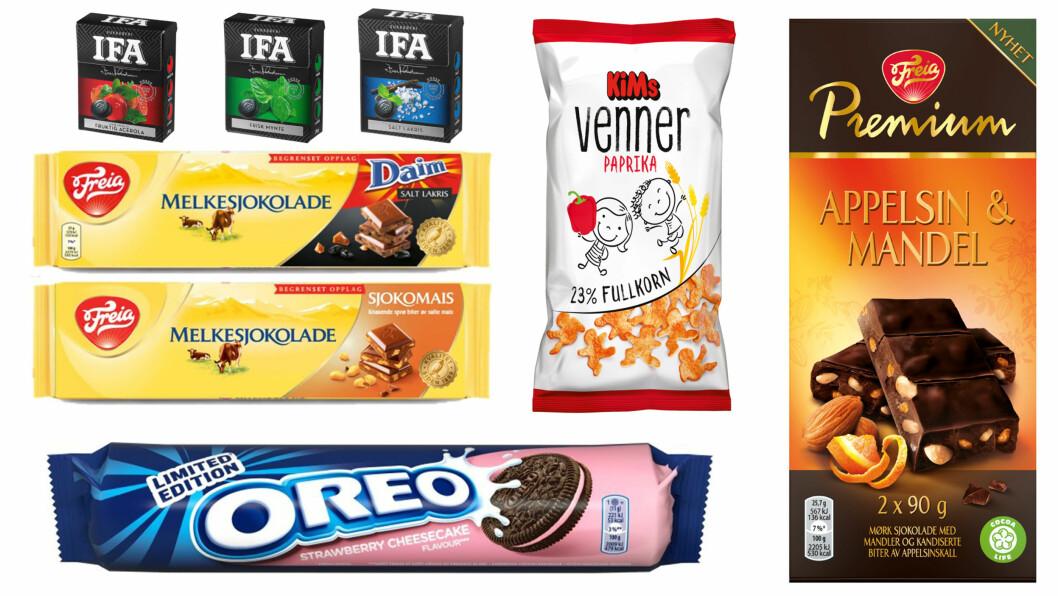 HØSTENS SNACKSNYHETER: Snart vil disse snacksnyhetene finnes i butikk!  Foto: Produsentene