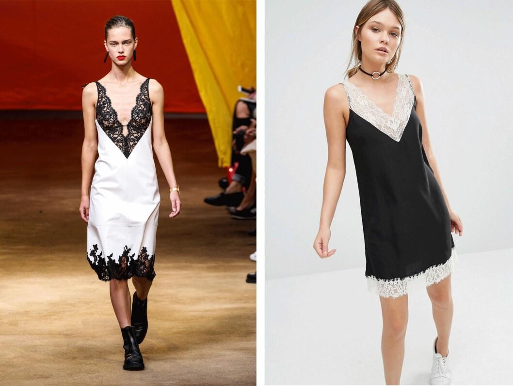 CELINE VS NEW LOOK: Slip dress-kjolen er superpopulær, og det skjønte nok New Look da de så denne kreasjonen fra Celine (til venstre) på catwalken (pris ukjent). Kjolen til høyre er fra New Look via Asos.com og koster kroner 328. Foto: Scanpix, Asos.com