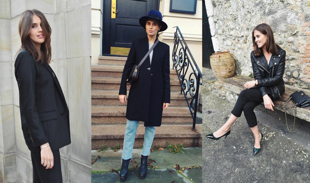 <strong>BASISGARDEROBEN:</strong> Enten jeg bruker en sort blazer, kåpe eller skinnjakke føler jeg meg komfortabel og fin.  Foto: www.darjabarannik.com