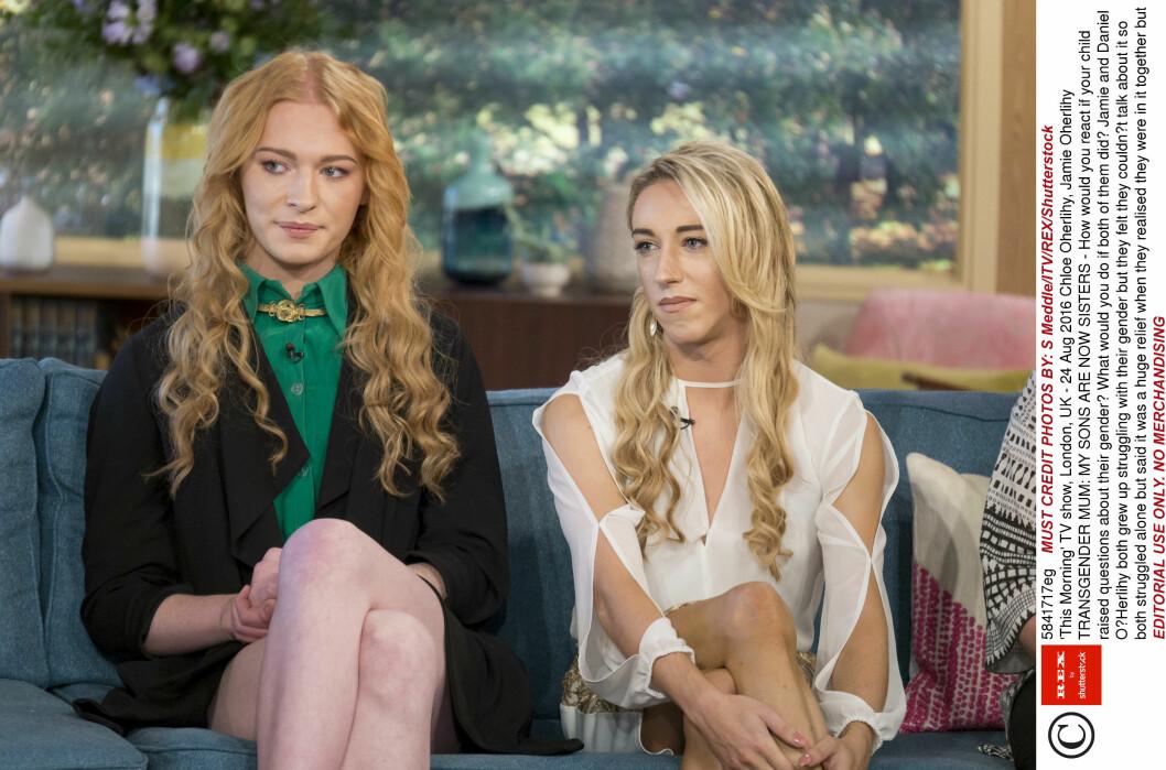 FRA BRØDRE TIL SØSTRE: Chloe (til venstre) og Jamie (til høyre) kom først ut som homofile. Da de begge nærmet seg 20 år fortalte de at de ville bytte kjønn.  Foto: Rex Features