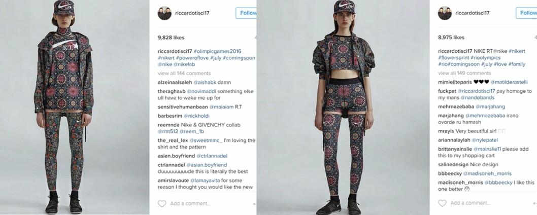 FARGERIK KOLLEKSJON: Den andre delen av kolleksjonen som slippes 4. august, er langt mer fargerik enn den som kommer i butikk i dag, 7. juli. Foto: Skjermdump fra Instagram / riccardotisci17