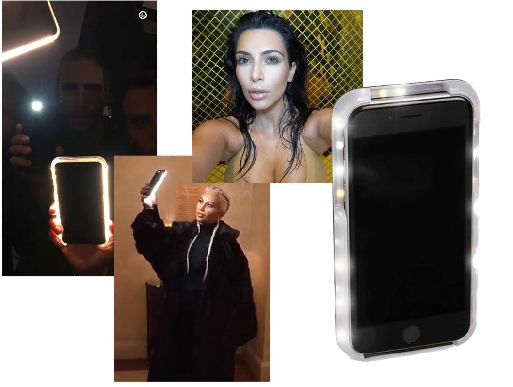 SELFIE: Kim Kardashian tar perfekte selfies med dette lysende dekselet. Foto: Scanpix, Nelly.com