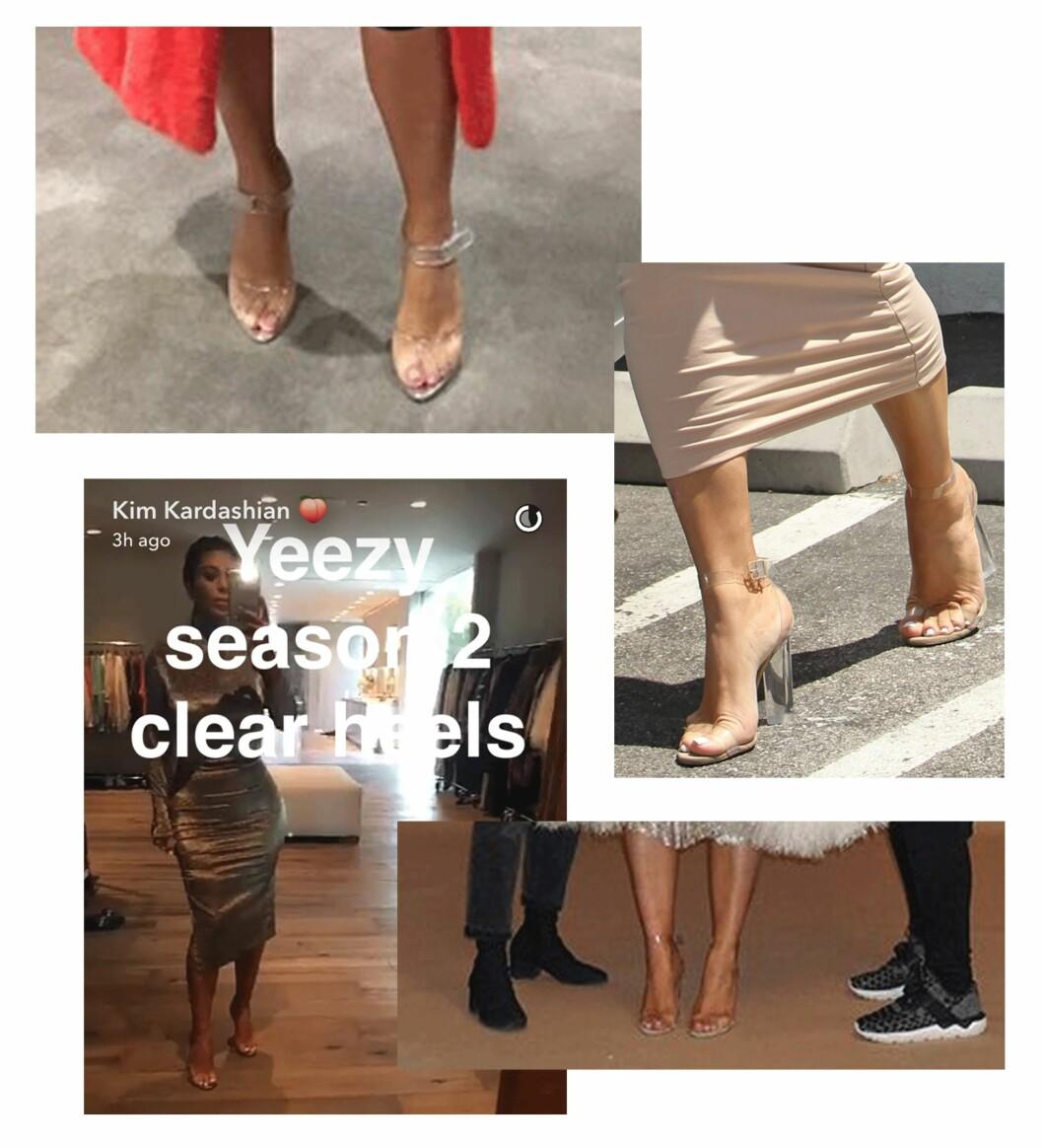 GJENNOMSIKTIGE SKO: Kim Kardashian har falt helt pladask for disse hælene! Kanskje fordi ektemannen Kanye West har laget dem? Foto: Scanpix