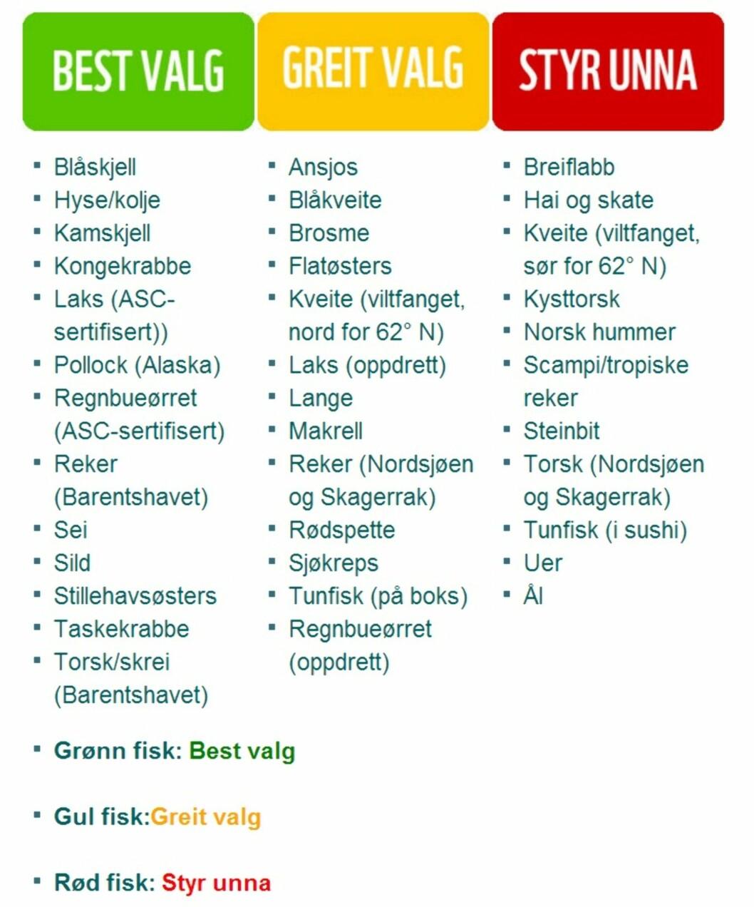 """<strong>FISKEVALG:</strong> WWF Norge deler fisken inn i tre kategorier: """"Best valg"""", """"Greit valg"""" og """"Styr unna"""".  Foto: WWF Norge"""
