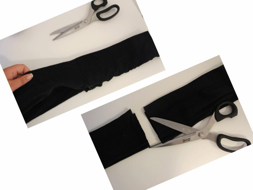 TIPS: Legg gjerne strømpebuksa sammen slik at når du klipper blir begge beina i ganske så slik lengde. Foto: Malin Gaden