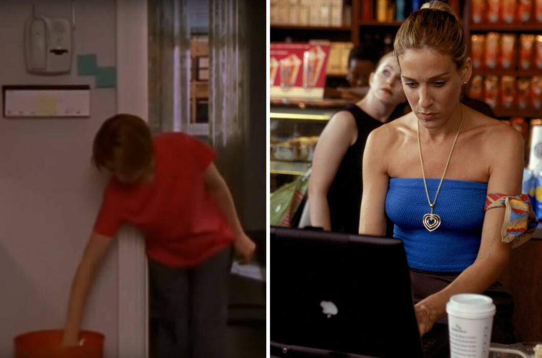 KJENNER DU DEG IGJEN?: Ronja Rognmo, som er deskansvarlig i KK.no, digger scenen der hvor Miranda kaster kake i søpla, for så to minutter senere ta den opp igjen for å spise restene. Og alle er vi enige om at skribent Carrie har tidenes råeste klesstil. Foto: HBO