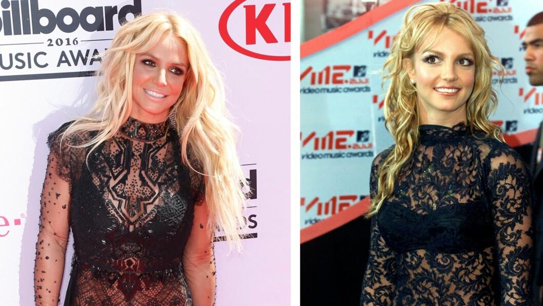 <strong>BRITNEY SPEARS:</strong> 15 år skiller disse bildene av popstjernen. Det ser ut til at 34-åringen lot seg inspirere av antrekket hun hadde på seg i 2001.