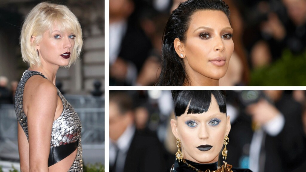 BLEKET BRYNENE: I anledning nattens Met-galla hadde Taylor Swift, Kim Kardashian og Katy Perry bleket brynene sine.  Foto: Scanpix
