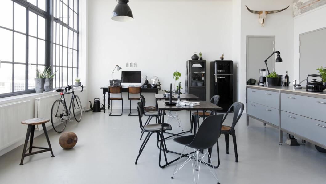 KJØKKENDRØM: Kjøkkenet var allerede installert da Renee flyttet inn. Nå drømmer hun om hvite fronter og en kraftig kjøkkenbenk av betong. SMEG-kjøleskapet fikk selskap av et vitrineskap av stål. Foto: Raul Candales Franch/IDECORimages.com