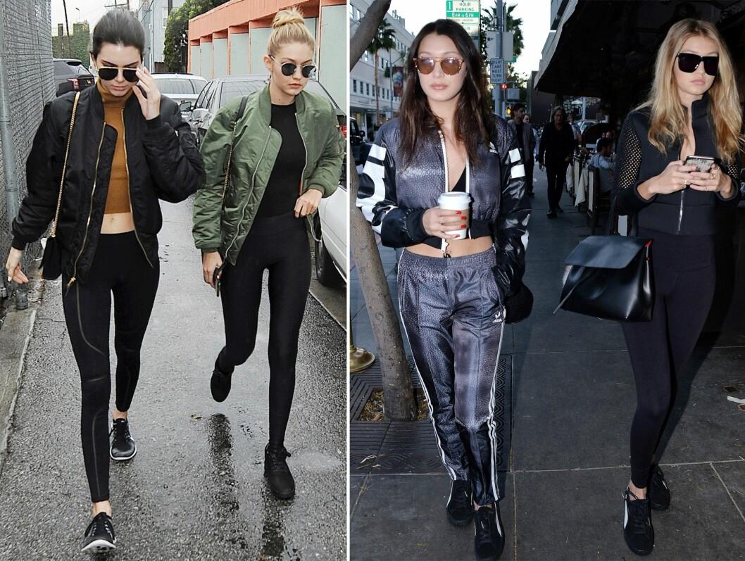 <strong>ELSKER STILEN:</strong> Kendall Jenner (20), Gigi Hadid (21) og Bella Hadid (19) er ofte å se i den såkalte Athleisure-stilen. Foto: Scanpix