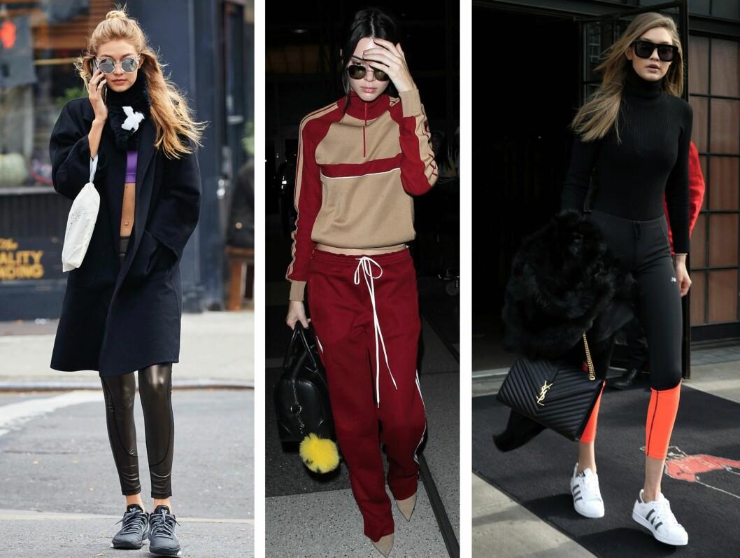 <strong>TRENINGSKLAR:</strong> Det ser kanskje ut som at Gigi Hadid (21) og Kendall Jenner (20) skal på trening, men dette er bare deres hverdagslige look. Foto: Scanpix
