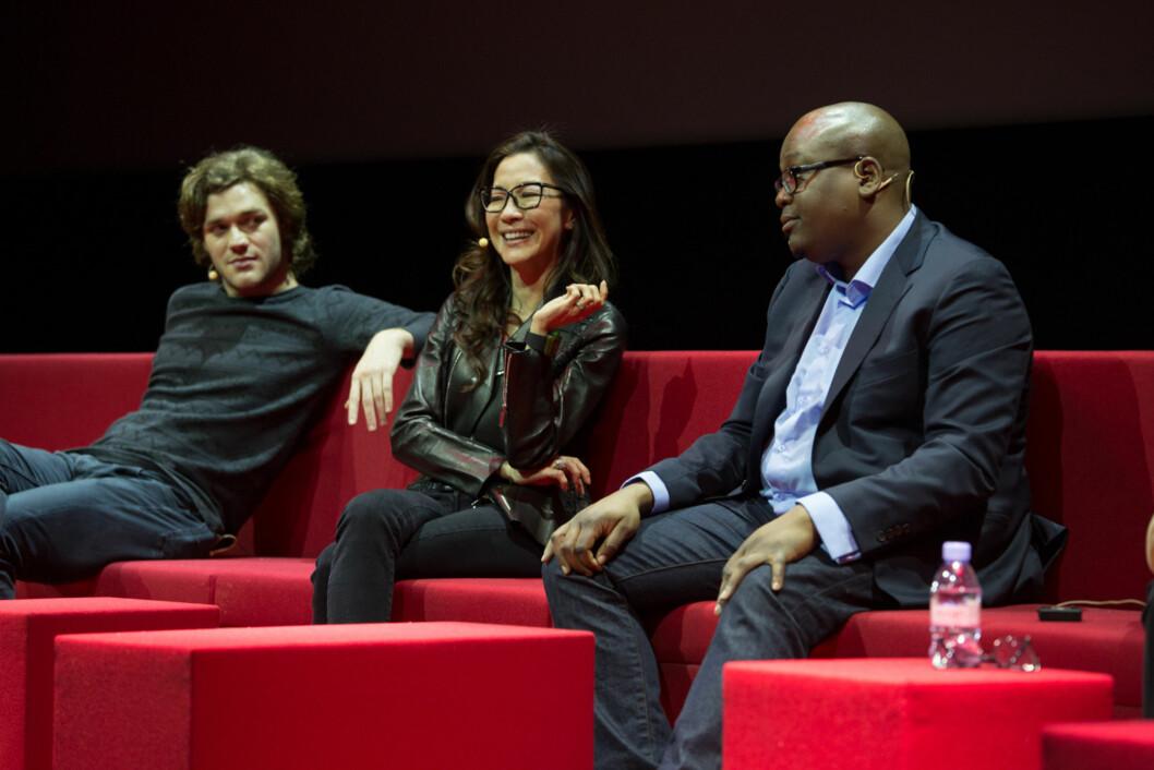 MARCO POLO-STJERNER: Fra venstre: Lorenzo Richelmy, Michelle Yeoh, Tituss Burgess Foto: Netflix