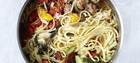 #Pastaonsdag: Alt i en gryte med  spagetti, kjøttboller og tomat