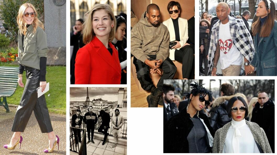 <strong>KJENDISFEST:</strong> Olivia Palermo, Rosamund Pike, Kanye West, Chris Brown, Kris Jenner, Pharell, Willow Smith og Jada Pinkett Smith hadde alle tatt turen til Paris for fashion week. Foto: Scanpix