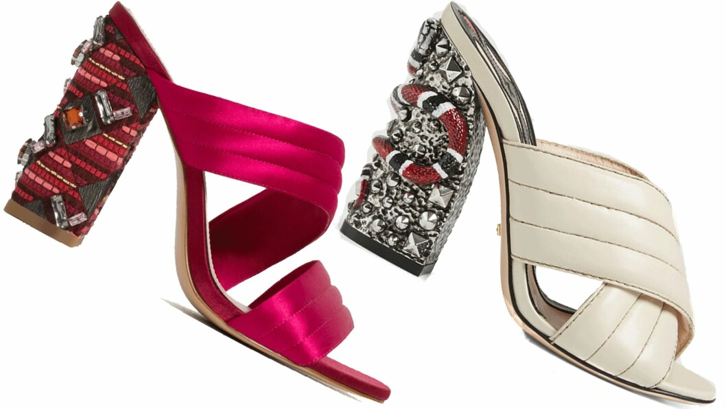 <strong>BILLIG VS DYR:</strong> Hælene til venstre er fra Zara og koster kroner 799. Hælene til høyre er fra Gucci og koster kroner 8472. Det utgjør en prisforskjell på kroner 7673. Foto: Produsentene