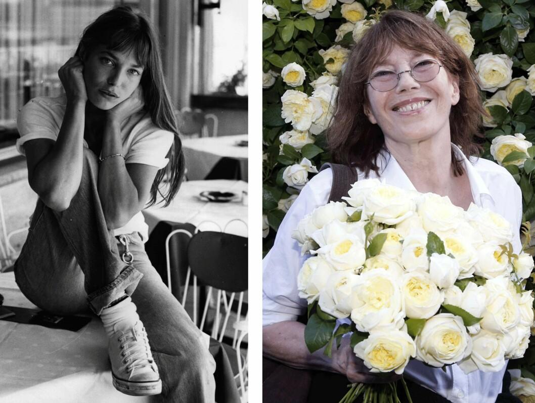 <strong>JANE BIRKIN:</strong> Etter at hun skisset drømmevesken på en spypose på et fly til den administrerende direktøren for det berømte motehuset Hermes i 1981, ble den ikoniske Birkin-vesken til. 39 år skiller disse bildene av Jane Birkin - fra 1976 og 2015. Foto: Scanpix