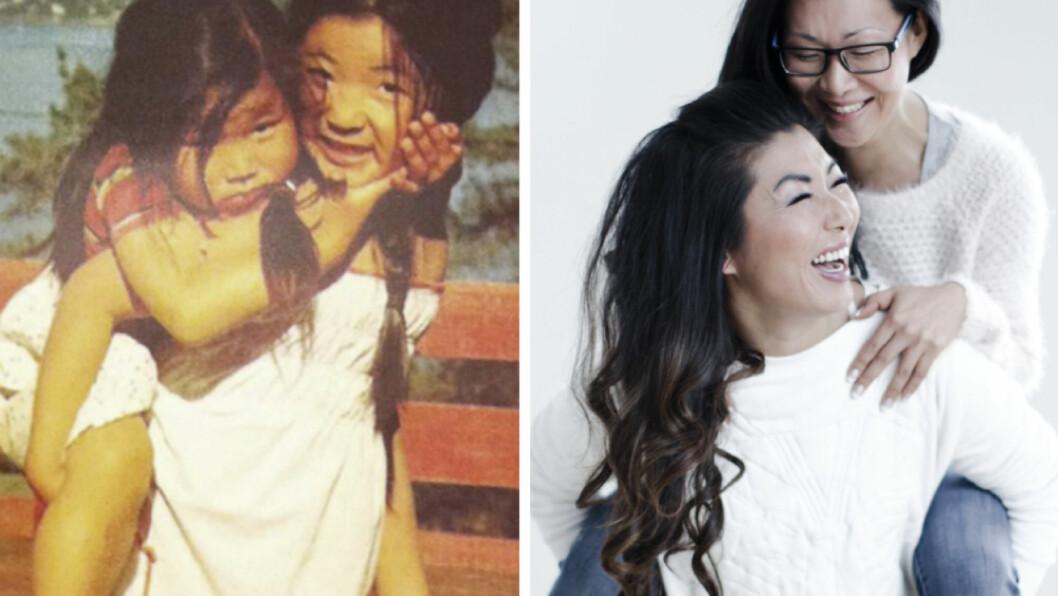<strong>FØR OG NÅ:</strong> Som storesøster har Kimhye Iversen (35) alltid kjent på et stort ansvar - og har på sett og vis alltid båret lillesøster Anniken (33) på ryggen. Foto: Privat og Astrid Waller