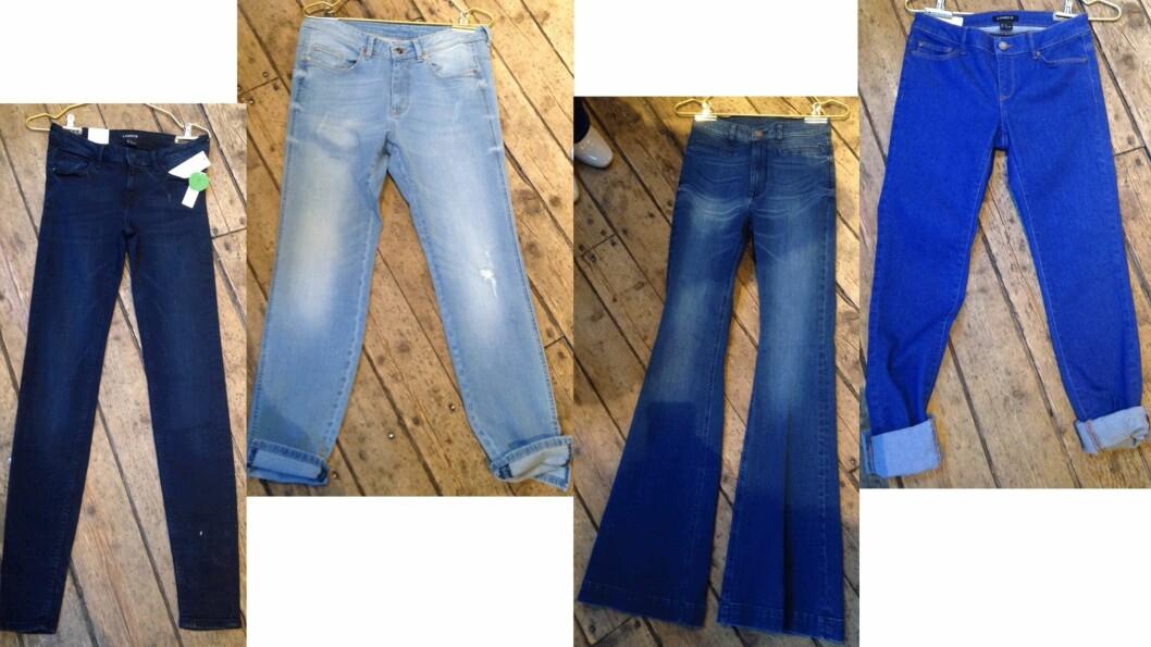 JEANS: Hva skal man velge? Rette jeans, boyfriend-versjonen, slengbukse eller de med ankellengde (fra venstre til høyre)? Les alle tipsene over. Foto: Ida Sandli Jensen