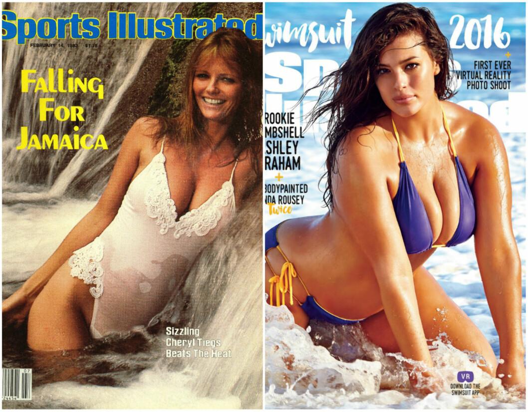 FORSIDEPIKER: Til venstre ser du Cheryl Tiegs Sports Illustrated-cover fra 1983, og til venstre ser du Ashley Grahams fra 2016. Foto: Scanpix