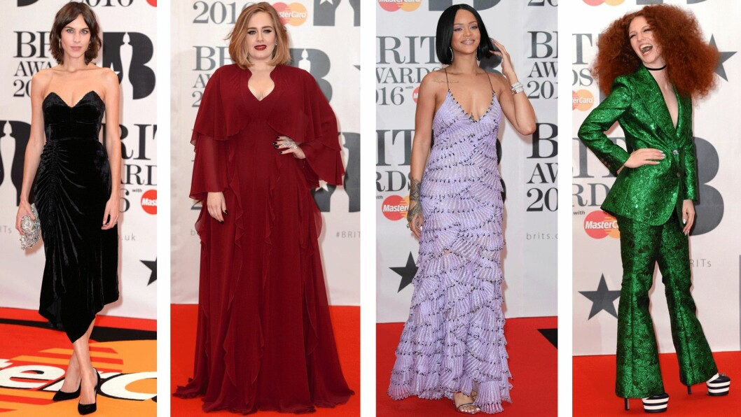 BRIT AWARDS: Det var ikke mange av kjendisene som imponerte på den røde løperen under årets Brit Awards. Sjekk ut alle antrekkene i bildekarusellen nederst i saken. Foto: Scanpix