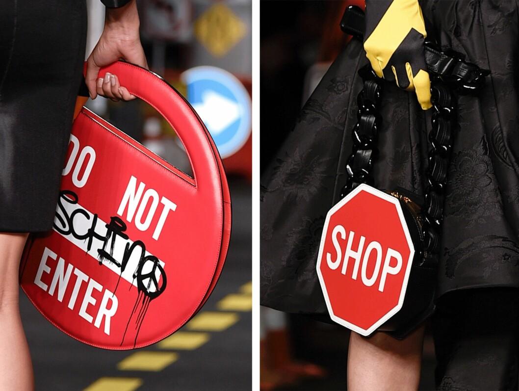 MOSCHINO: Det var tydelig hva designeren hadde blitt inspirert av da disse veskene ble laget! Foto: Scanpix