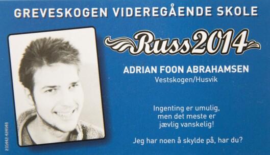 RUSSEGUTT: I 2014 fullførte Adrian Arbeids- og hverdagslivstrening-linjen (AHT) på videregående. Foto: Privat