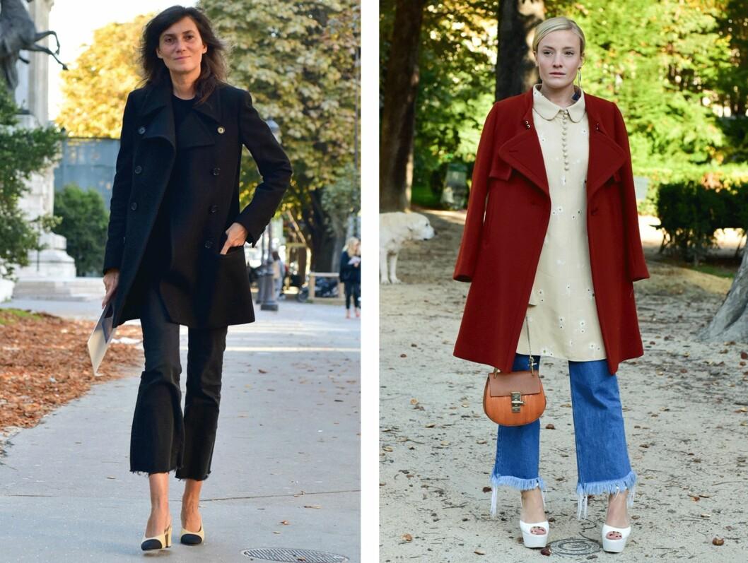 HOT OR NOT? Emmanuelle Alt (t.v.) kler virkelig disse buksene. Denimversjonen til høyre er også så kul! Legg merke til hvordan begge buksene er rufset nederst på kanten - det skal vi prøve! Foto: Scanpix