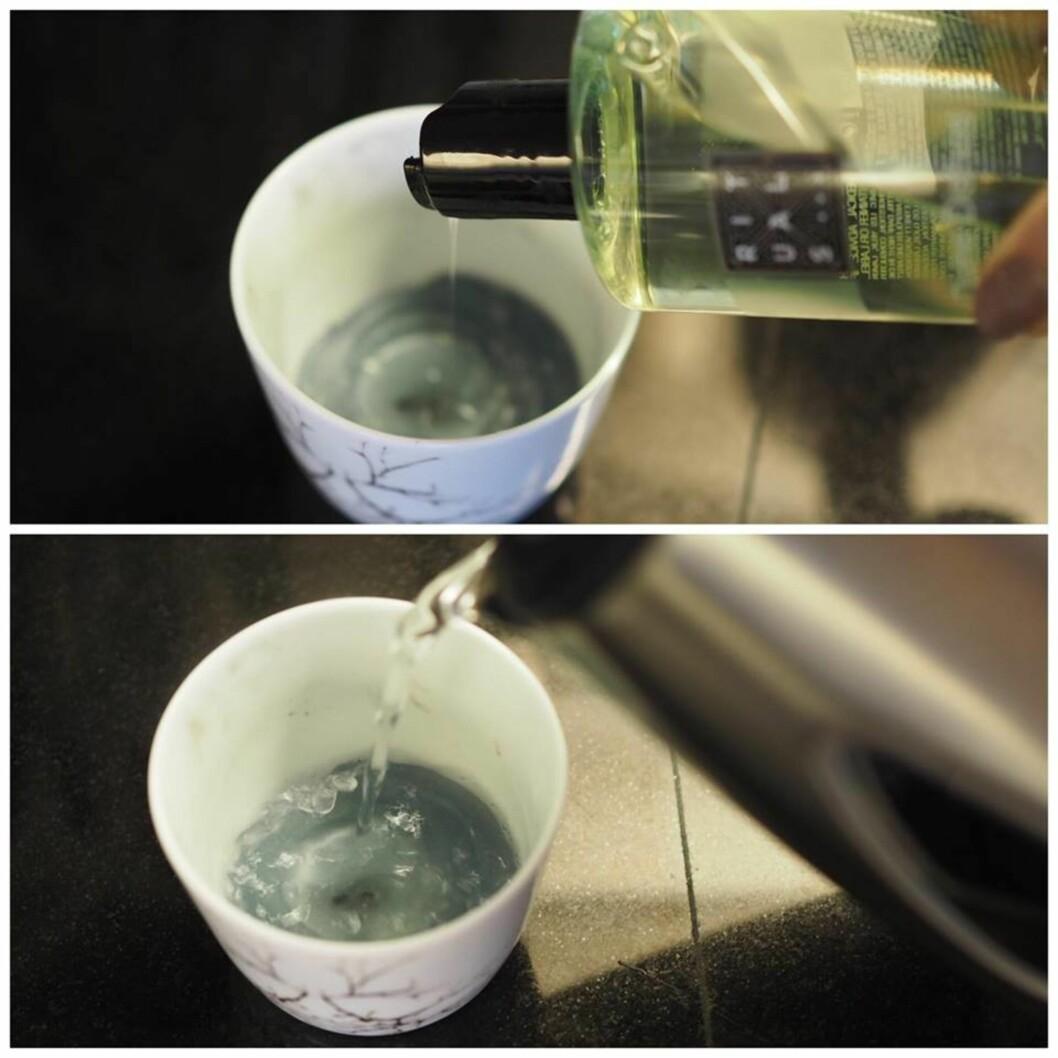 <strong>TRINN 1:</strong> Ha litt oppvasksåpe og kokende vann i telysholderen.  Foto: Marna Haugen Burøe