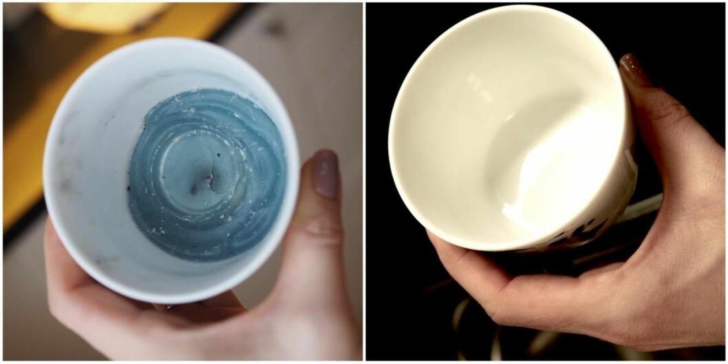 <strong>FØR OG ETTER:</strong> Sjekk den forskjellen! Neste gang vi skal fjerne stearinsøl skal vi absolutt benytte oss av dette trikset.  Foto: Marna Haugen Burøe