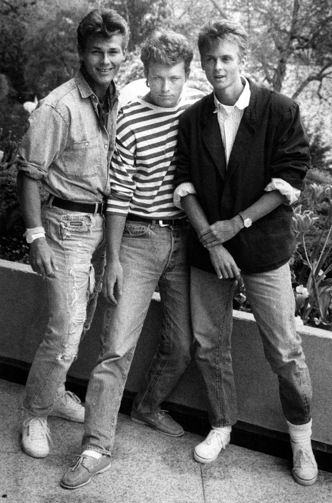<strong>UNGPIKEIDOLER:</strong> Den norske musikkgruppen a-ha fotografert i 1987. Fra venstre: Morten Harket, Morten Furuholmen og Paul Waaktaar-Savoy. Foto: Erik Poppe for VG / NTB Scanpix