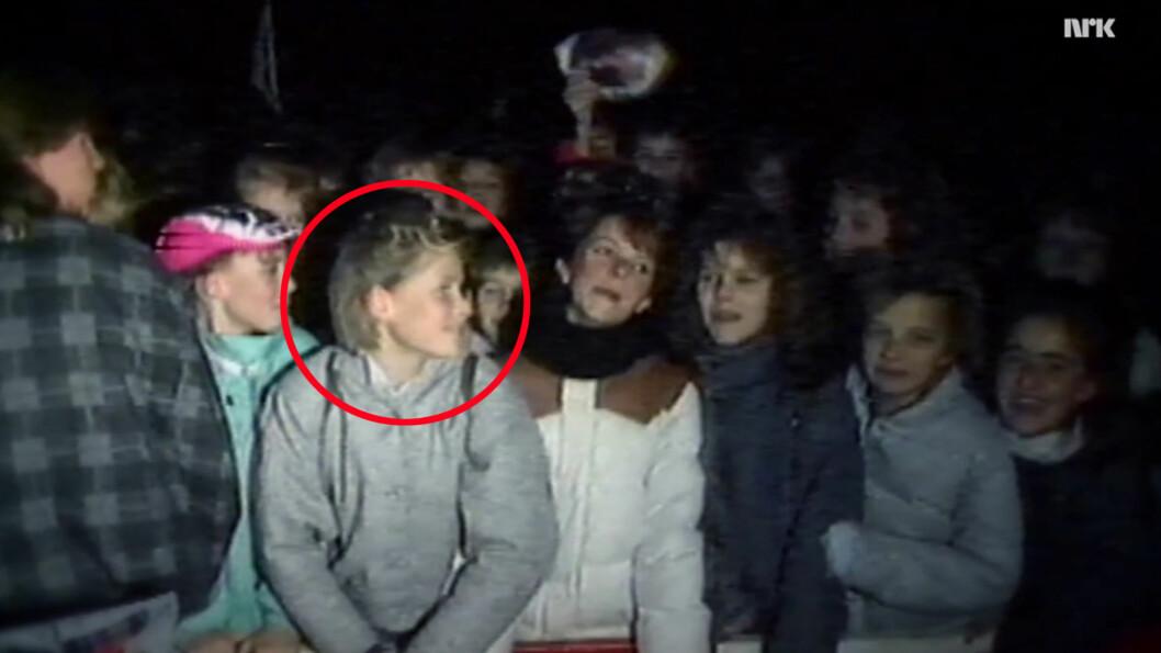 <strong>METTE-MARIT:</strong> Den fremtidige kronprinsessen er 13 år, og gir alt under a-ha-konserten som blir avholdt i Kristiansand 30. januar 1987. Slottet bekrefter at kronprinsessen var på konserten. Foto: Skjermdump NRK / Monster