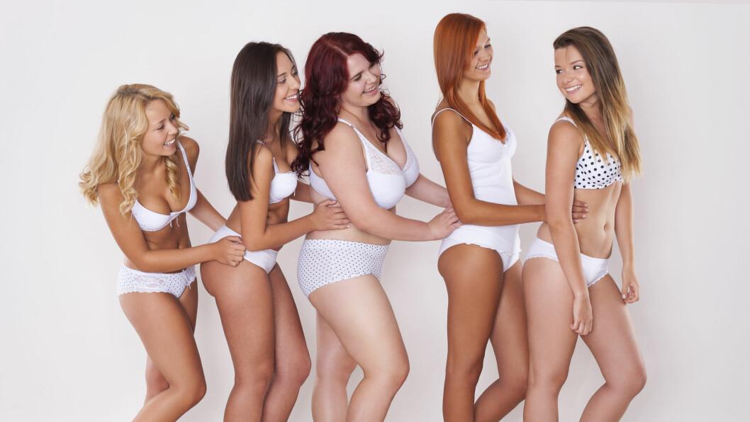ULIKE KROPPSBILDER: For mange mennesker henger kroppsbilde sammen med selvtilliten, men det burde ikke få bestemme hvor bra du føler deg. Foto: Shutterstock / gpointstudio