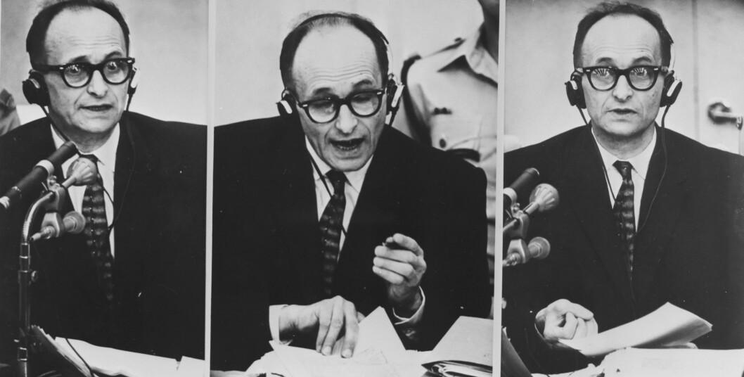 DØDENS ANSIKT: Tyske Adolf Eichmann var de som hadde hovedansvar for logistikken bak etableringen og utviklingen av de mange konsentrasjonsleirene rundt om i Europa på slutten av 1930-tallet og utover andre verdenskrig. Her er han fotografert under rettsmøtet i Tel Aviv sommeren 1961. I desember samme år ble han dømt til døden. Foto: NTB Scanpix