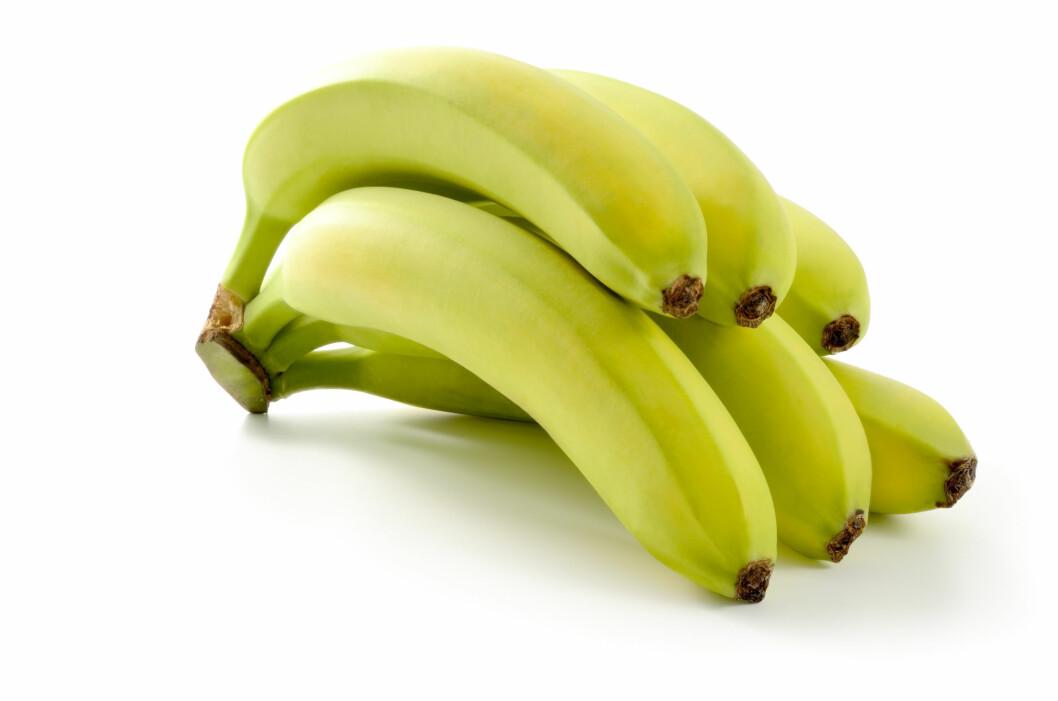 GRØNNE BANENER: Umodne, grønne bananer inneholder mindre sukker og mer fiber enn de gule modne gjør.  Foto: fabiomax - Fotolia