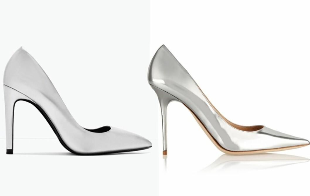 ZARA VS. JIMMY CHOO: Et par pumps i skinnende metallisk farge er et av de kuleste tilbehørne du kan ha i vår. Velger du Zara eller Jimmy Choo? Foto: Produsentene, Net-a-porter.com.