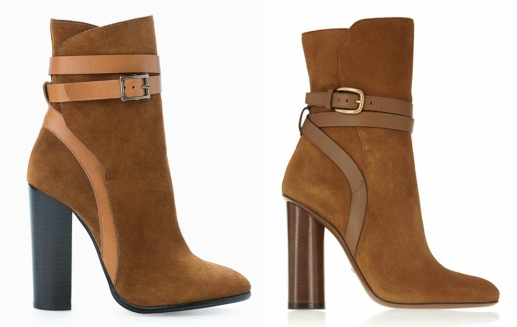 MANGO VS. GUCCI:  Det er ikke mye som skiller skoene fra Mango og Gucci fra hverandre annet en prisforskjellen på nesten 8500 kroner.  Foto: Produsentene, Net-a-porter.com.
