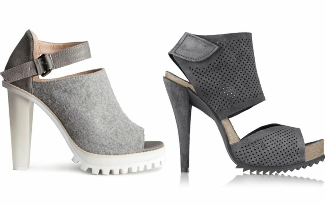 H&M VS. PEDRO GARCIA: Høyhælte sandaler med sporty uttrykk og kraftig hæl går utmerket til vårens slengbukse-trend. Både folkefavoritten H&M og skodesigner Pedro Garcia har kommer med varianter.  Foto: Produsentene, Net-a-porter.com.