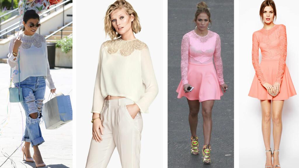 KJENDISMOTE PÅ BUDSJETT: Kourtney Kardashians bluse er fra H&M og koster 399 kroner og kjolen til Jennifer Lopez er fra Asos og koster 526 kroner. Foto: All Over Press og produsentene