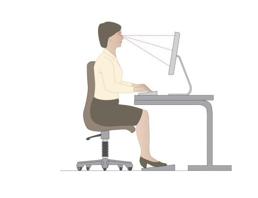 RETT I RYGGEN: Stolen bør kunne stilles inn slik at du kan ha fotsåla i gulvet og korsryggen inntil stolryggen. I tillegg bør det være armlen på stolen.  Foto: Science Photo Library