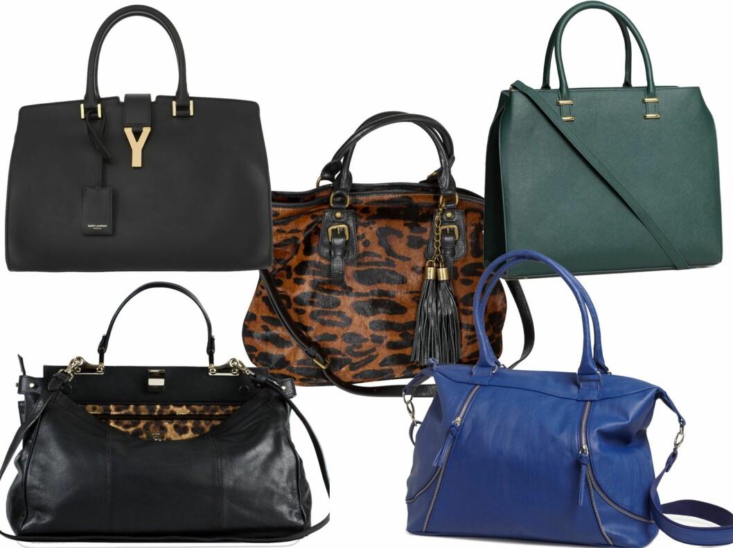 FRA STIVE TIL GLADE PRISER: Øverst til vesntre i luksusklassen (cirka kr 18 000, Saint Laurent/Net-a-porter.com), i midten i leopard (kr 1300, Vivikes), i sjøgrønt (kr 400, H&M), i skinn med leopard (kr 3500, Adax) og i knall blått (kr 300, Lindex). Foto: Produsenter