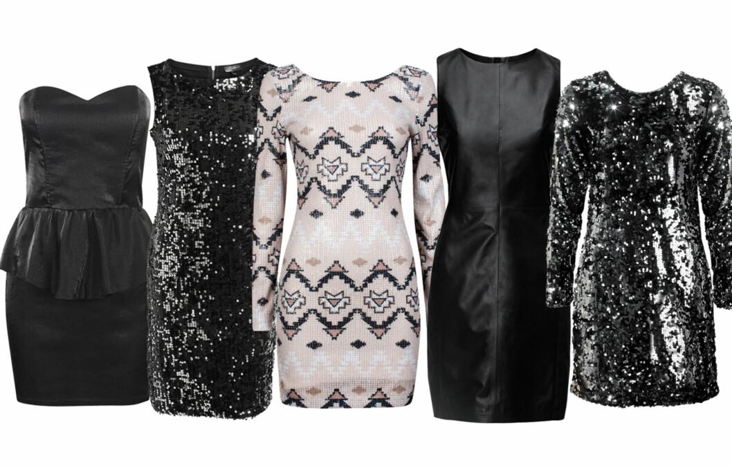 <strong>ÅRETS JULEKJOLER:</strong> Bik Bok, KappAhl, Cubus, H&M og Gina Tricot har valgt ut én kjole de har ekstra tro på til årest julebord. Her er dommen! Foto: Produsentene