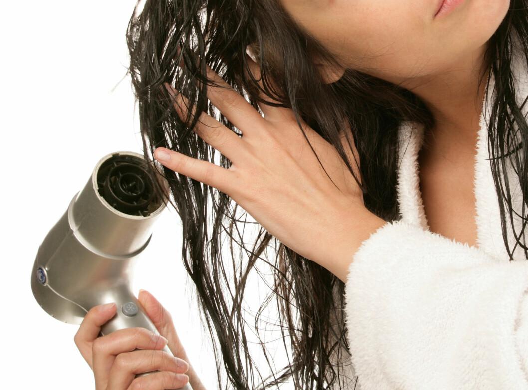 KALD LUFT: Du bør faktisk vente til håret er halvtørt før du føner det! For å skade håret minst mulig, kan du bruke kaldluftinnstillingen på føneren, men vær obs på at det vil ta lenger tid før håret blir tørt. Foto: studiovespa - Fotolia
