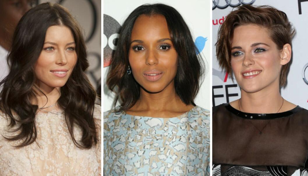 OVALT FJES: Jessica Biel, Kerry Washington og Kristen Stewart. Foto: All Over Press