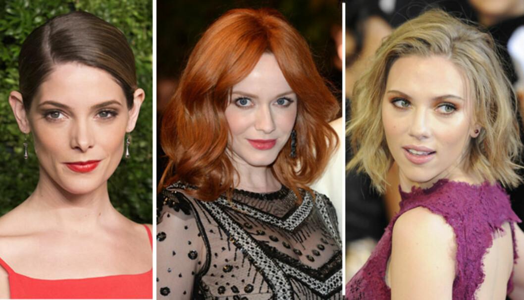 DIAMANTFORMET FJES: Ashley Greene, Christina Hendricks og Scarlett Johanssen. Foto: All Over Press
